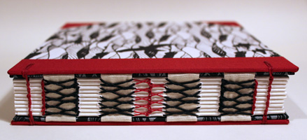 Open spine Sketchbook with handprinted paper by Carole King at Nant Designs